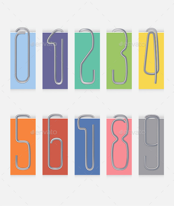 Set of Metal Paper Clip Numbers - Man-made Objects Objects