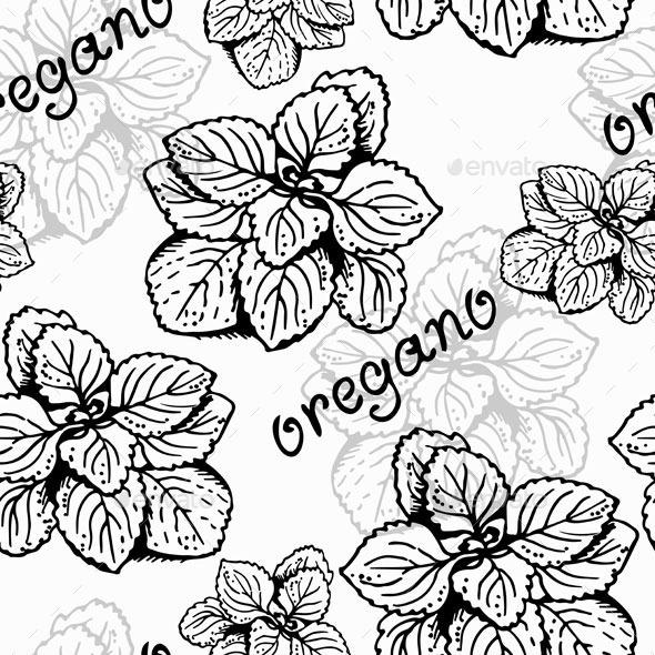 Oregano Herb Pattern - Food Objects