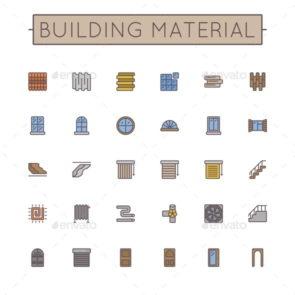 Vector Colored Building Material Line Icons - Industries Business