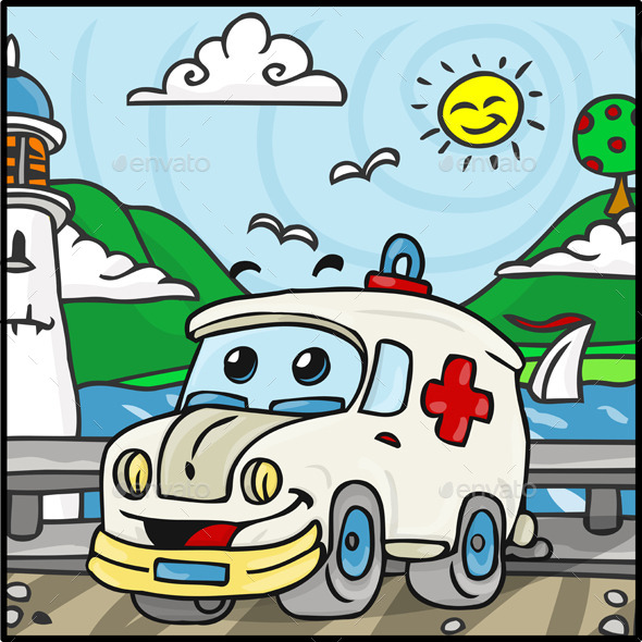 Cartoon Ambulance Character with Lake - Miscellaneous Characters