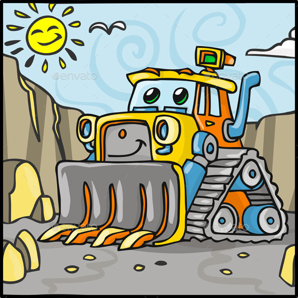 Cartoon Bulldozer Character with Quarry - Miscellaneous Characters