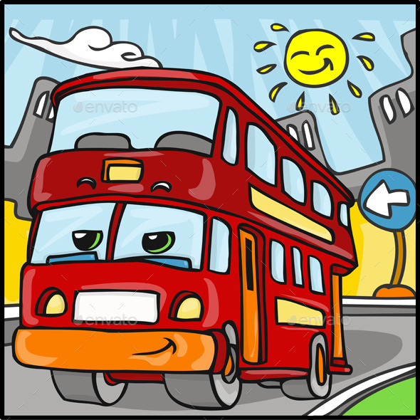 Cartoon Red Duble Decker Bus Character - Miscellaneous Characters