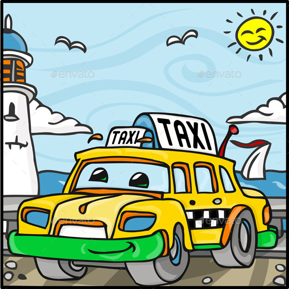 Cartoon Taxi Character Near the Sea - Miscellaneous Characters