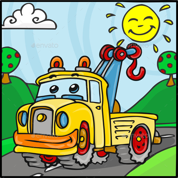 Cartoon Tow Truck Character with Hills Background - Miscellaneous Characters