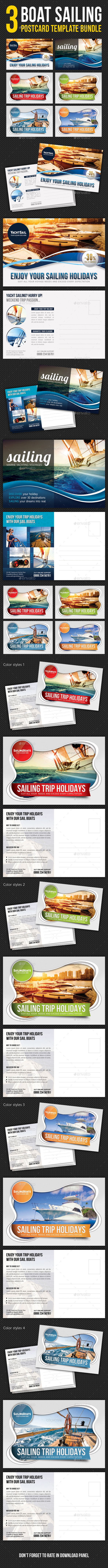 3 in 1 Boat Sailing Postcard Template Bundle - Cards & Invites Print Templates