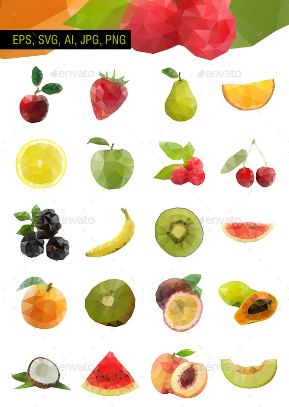 Polygonal Vector Fruit - Set of 20 - Food Objects