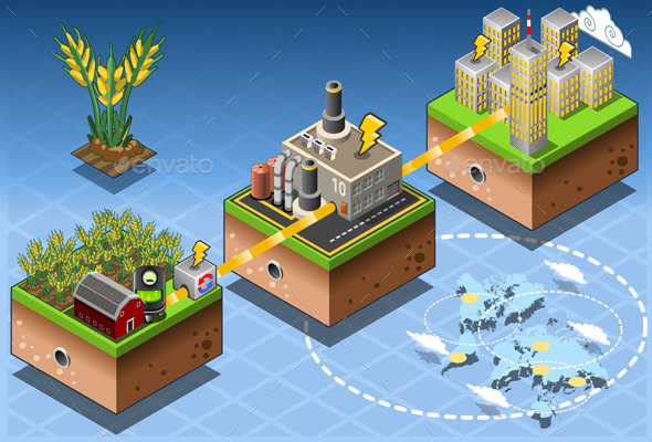 Isometric Infographic Biomass Source Renewable - Buildings Objects