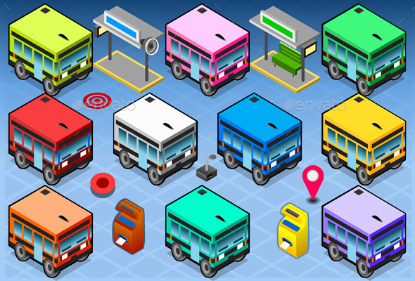 Isometric Rainbow Buses - Objects Vectors
