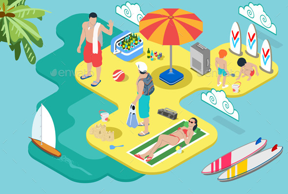 Isometric Beach Life - Summer Holidays Concept - People Characters