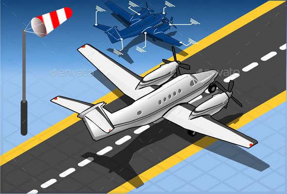 Isometric White Private Plane - Man-made Objects Objects