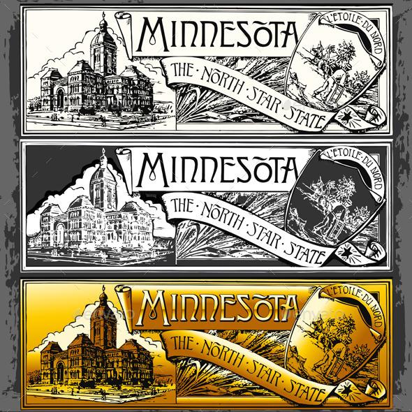 Vintage Minnesota Label Plaque,  Black and Gold  - Decorative Vectors