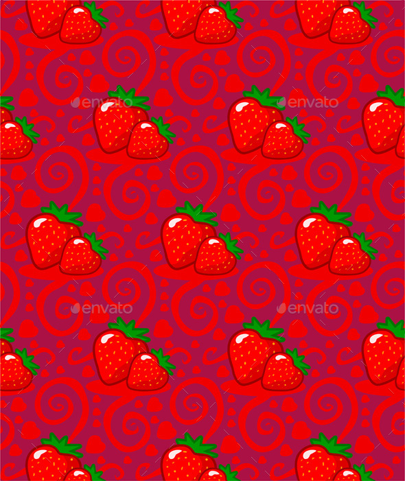 Pattern with Two Strawberries - Patterns Decorative