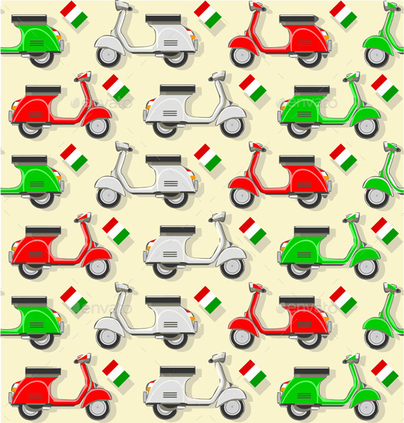 Pattern with Three Scooter in Varius Color - Patterns Decorative