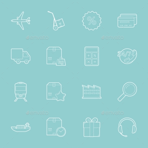 Logistics Thin Lines Icons Set - Travel Conceptual