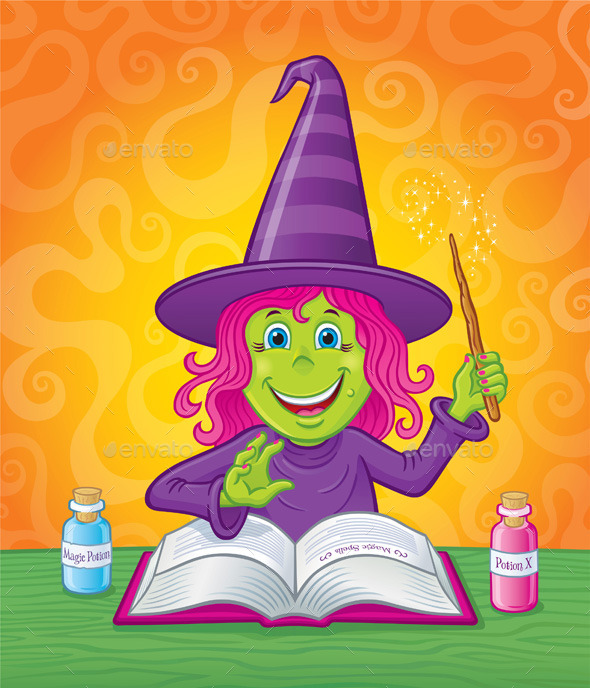 Girl Witch Casting a Spell - Halloween Seasons/Holidays