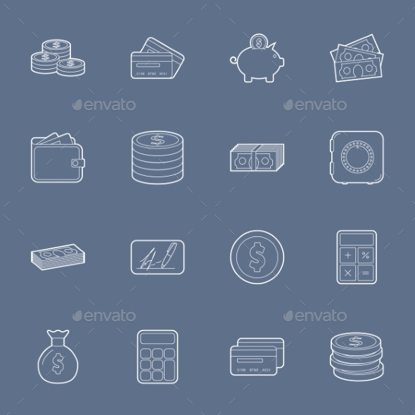 Money and Financial Thin Lines Icons - Retail Commercial / Shopping