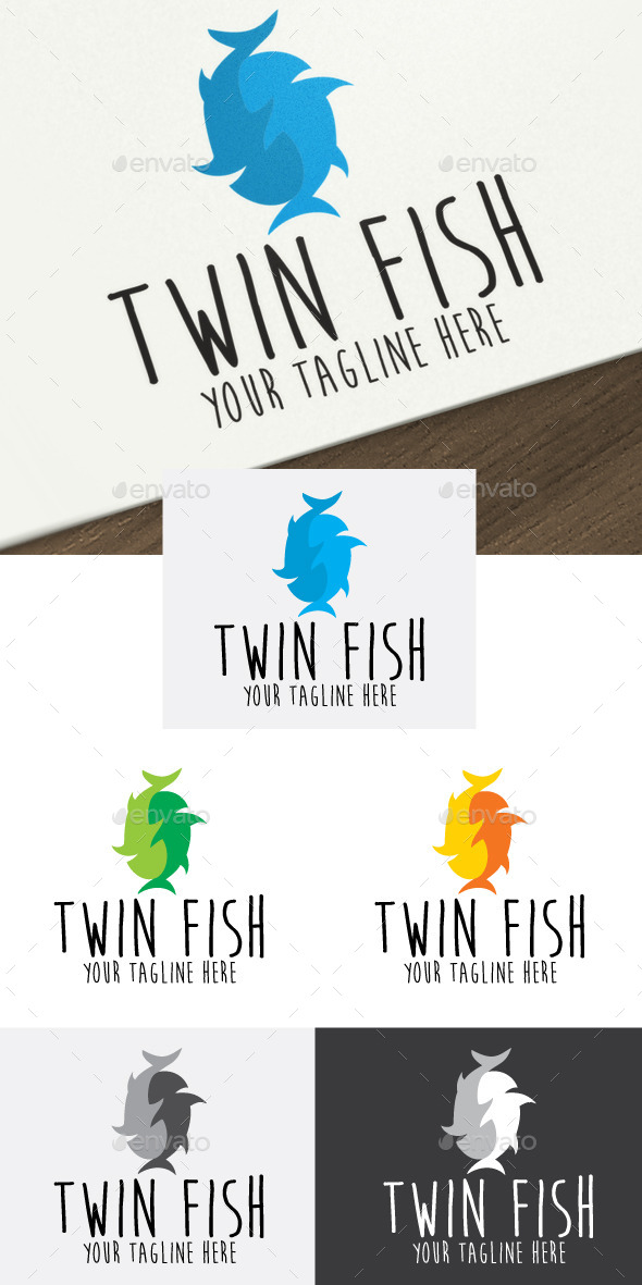 Twin Fish - Animals Logo Templates