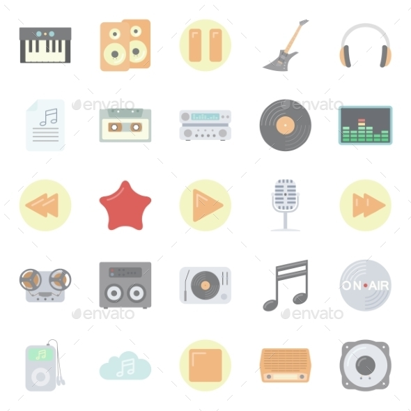 Music and Audio Flat Icons Set - Sports/Activity Conceptual