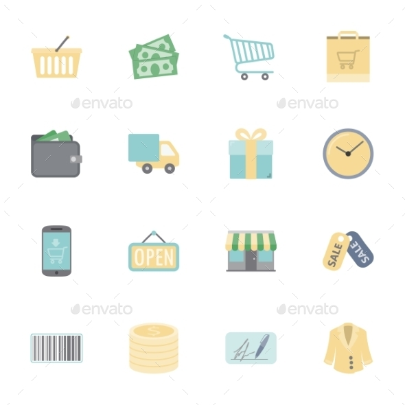 Shopping Flat Icons Set - Retail Commercial / Shopping