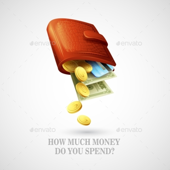 Purse with Money and Cards  - Objects Vectors