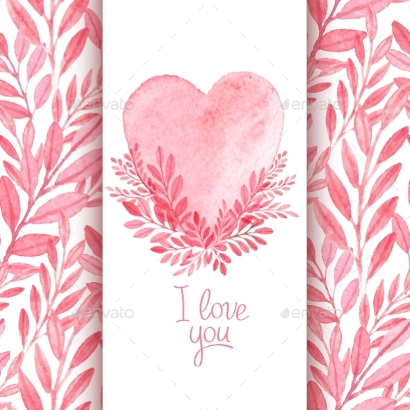 Watercolor Valentines  - Valentines Seasons/Holidays