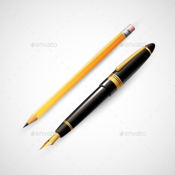 Pencils and Pens  - Objects Vectors