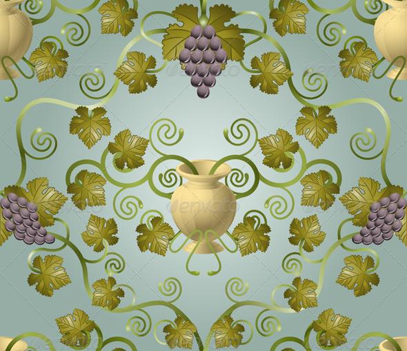 Wine Grape Vine Leaf Seamlessly Tiling Background - Backgrounds Decorative