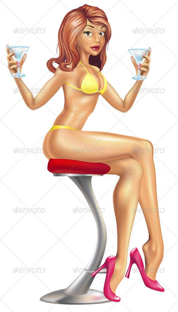 Sexy Woman in Bikini with Cocktails Illustration - Characters Vectors