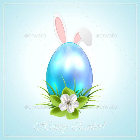 Blue Easter Egg and Bunny Ears - Animals Characters