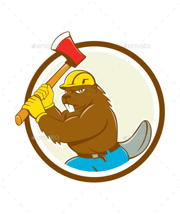 Beaver Lumberjack Wielding Ax Circle Cartoon - Animals Characters