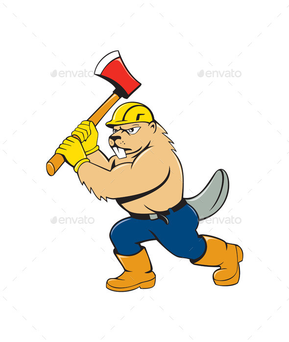 Beaver Lumberjack Wielding Ax Cartoon - Animals Characters