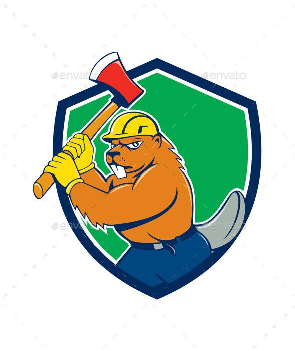 Beaver Lumberjack Wielding Ax Shield Cartoon - Animals Characters
