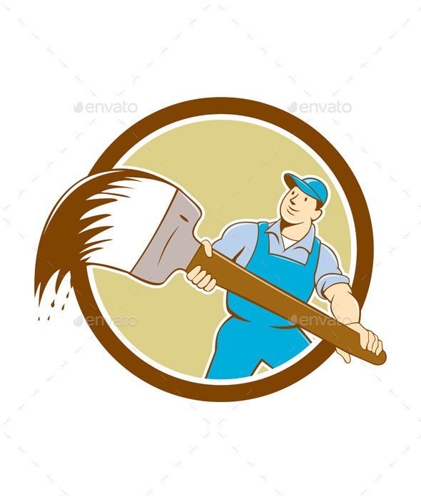 House Painter Giant Paintbrush Cartoon - People Characters