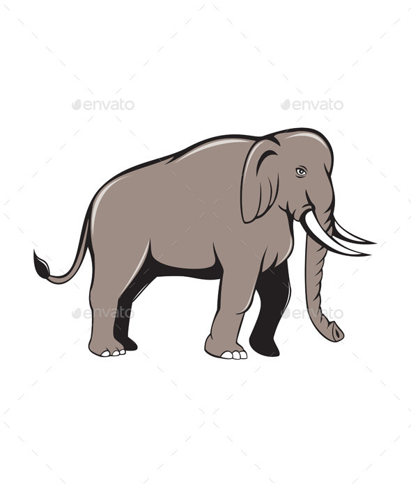 Indian Elephant Side View Cartoon - Animals Characters