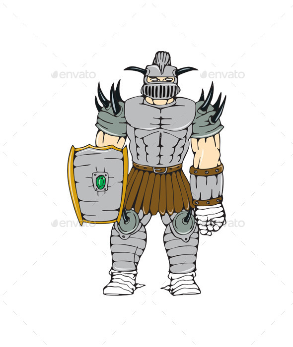 Horned Knight Full Armor Shield Cartoon - People Characters