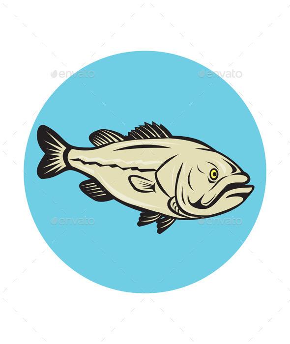 Largemouth Bass Fish Side Circle Cartoon - Animals Characters
