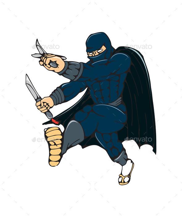 Ninja Masked Warrior Kicking Cartoon - People Characters
