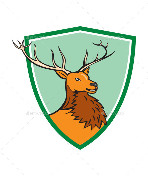 Red Stag Deer Head Shield Cartoon - Animals Characters