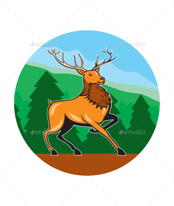 Red Stag Deer Side Marching Circle Cartoon - Animals Characters