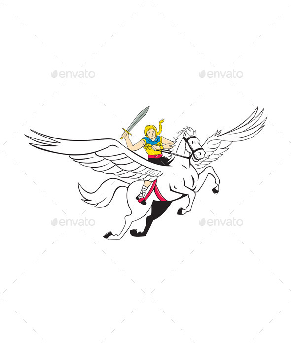 Valkyrie Amazon Warrior Flying Horse Cartoon - People Characters
