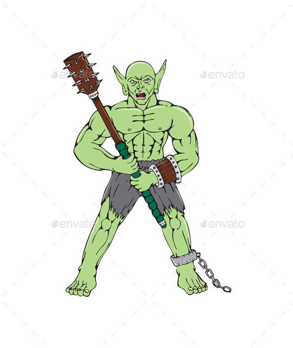 Orc Warrior Wielding Club Cartoon - Monsters Characters