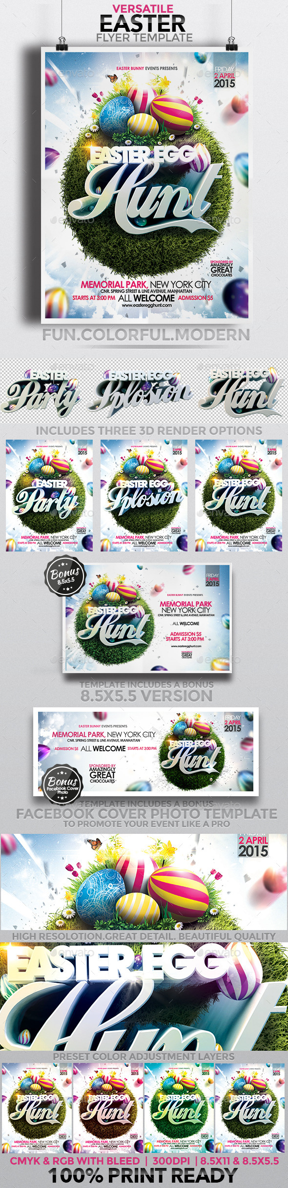 Versatile Easter Flyer Template - Clubs & Parties Events