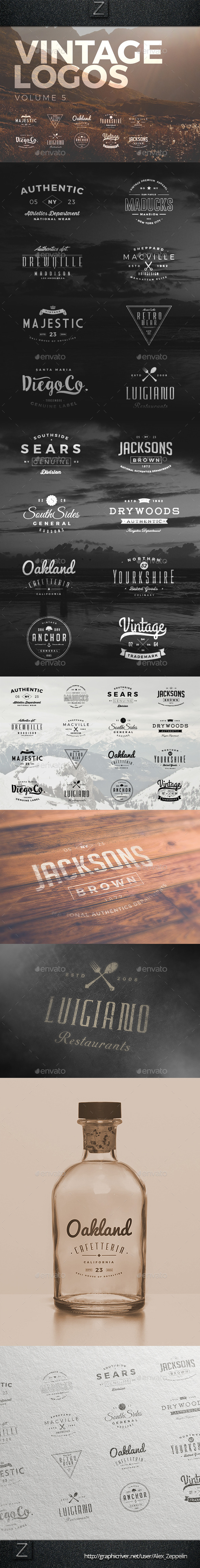 Vintage Logos Set 5 - Badges & Stickers Web Elements