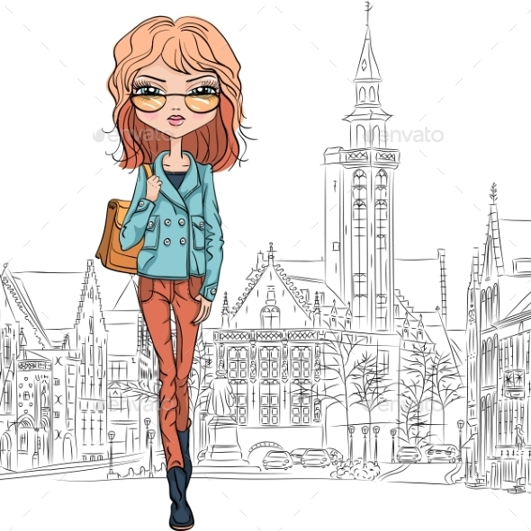 Fashion Girl in Bruges - People Characters
