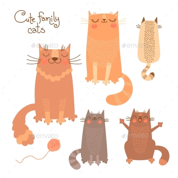 Set with Cats and Kittens - Animals Characters