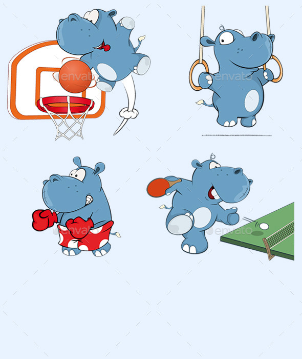 Set of Hippos Cartoon - Sports/Activity Conceptual