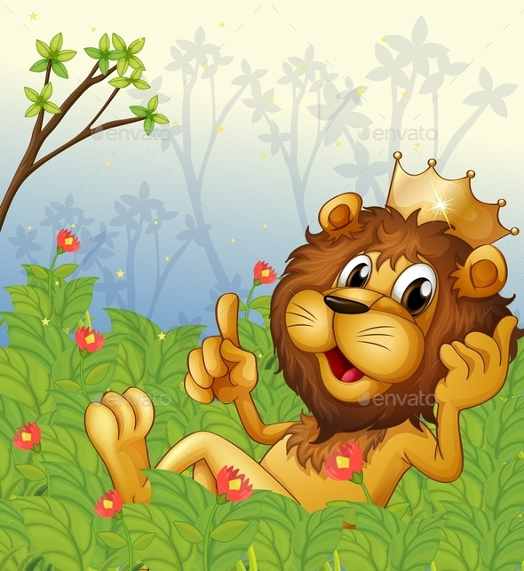 Lion with a Crown at the Forest  - Animals Characters
