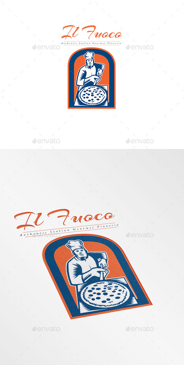 Il Fuoco Gourmet Pizza Logo  - Humans Logo Templates