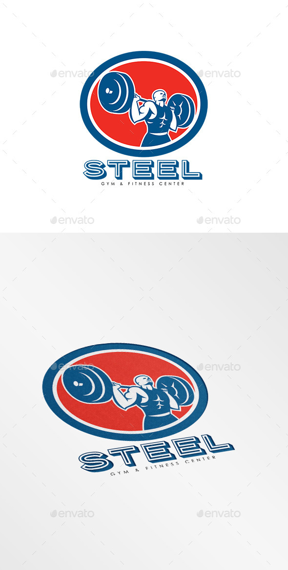 Steel Gym Fitness Center Logo - Humans Logo Templates