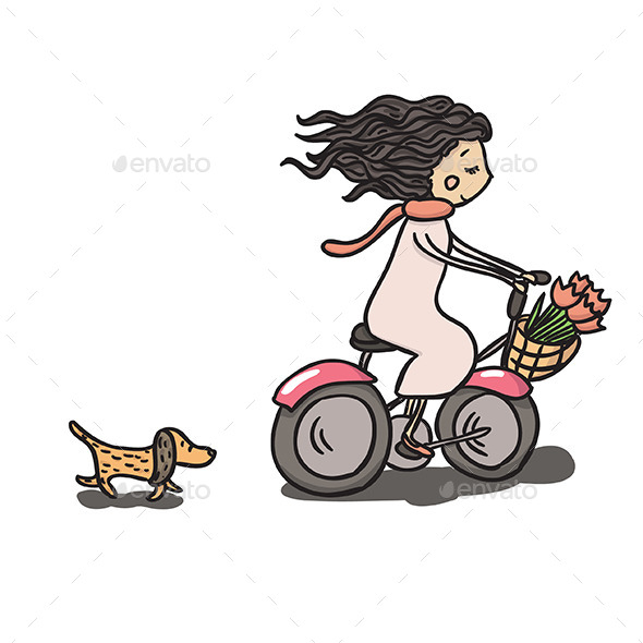 Girl Riding Bike - People Characters